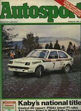 AUTOSPORT OTT 16th 1980 * Rally San Remo & TVR Tasmin *