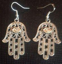 Silver Hamsa Earrings For Pierced Ears