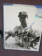 Eddie Mathews Original Brace Autographed 11x14 Baseball Photo PSA Milwaukee