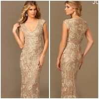 NWT JOVANI CAP SLEEVE LACE  GOWN IN LIGHT  CAFE/ $768 AUTENTIC LOW PRICE$299