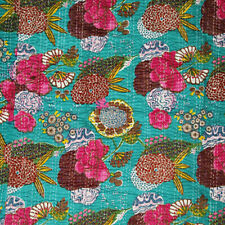 Indian Vintage Paisley Kantha Quilt Cotton Reversible  Blanket Throw Bedspread