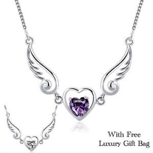 Silver Angel Necklace Pendant Wings Guardian Heart Women Crystal CZ Jewellery UK