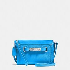 Coach 53032 Swagger Wristlet Pebble Leather Azure Blue Crossbody Handbag NEW
