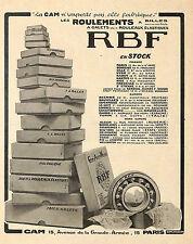 ROULEMENTS A BILLES RBF PUBLICITE 1925