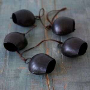 Fair Trade Handmade Rustic String of 5 Black Cowbells Hanging Decoration Garden