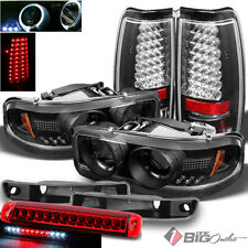 For 99-03 Sierra Black Pro Headlights + LED Tail Lights Signal + 3rd Brake Cargo