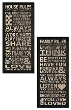 Inspirational House and Family Rules Typography Panels; Two 8x18 Poster Prints
