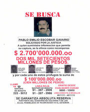 Set of 2 Pablo Escobar Colombias Wanted Poster Flyer 8x10