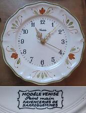 Horloge murale porcelaine Vedette modèle Venise peint main Sarreguemines