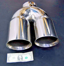 "4"" DUAL 6"" DIESEL EXHAUST TIP 4.00"" STAINLESS STEEL POLISHED CHROME MITER STACk"