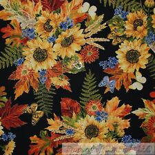 BonEful Fabric FQ Cotton Quilt VTG Black Yellow Sun*Flower Harvest Gold Metallic