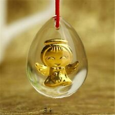 Solid 24k Yellow Gold Man-made Crystal Lucky Angel Pendant New Offer