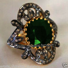 Vintage 3.02Cts Pave Rose Cut Diamond Emerald Studded Silver Bridal Ring Jewelry