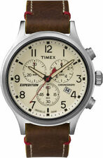 Mens Timex Indiglo Expedition Brown Leather Chronograph Date Watch TW4B04300