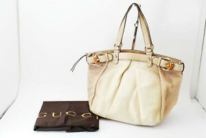 【Rank B】Authentic Gucci python Leather Tote bag ivory From Japan R71