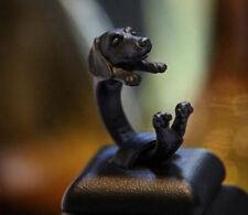 Cachorro De Perro Salchicha Anillo Ajustable Moda Regalo En Color Negro Perro Salchicha UK