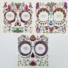 Day Of The Dead Face Tattoo Halloween Lot of 3 Sugar Skull Dia de los Muertos
