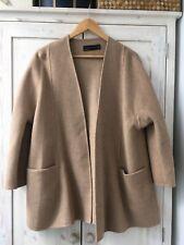 Zara Camel Brown Tan Wool Coat Jacket Cardigan Kimono Medium 10 12 14 Oversize