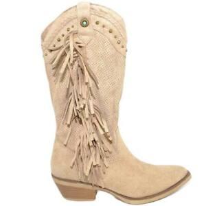 Stivali donna camperos texani beige frange e borchie in camoscio stile western a
