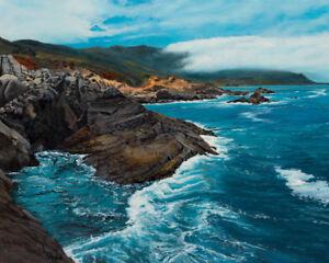 Robert West Carmel Highlands California Coast Ocean Oil Painting on Canvas 24x30