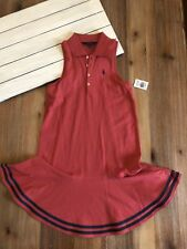 Girl's Polo Sleeveless Dress - Nantucket Red Stripe - 12-14(L), 14 - NWT