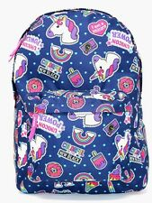 """Unicorn Power Front all over Print 16"""" School Backpack Navy Blue , NEW"""
