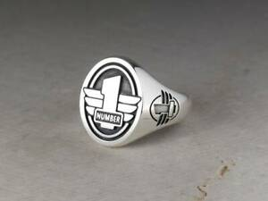 Number One Signet Wings Oval 925 Sterling Silver Men's Biker Ring Gift birthday