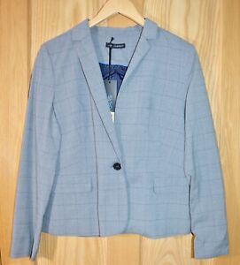 Ex Catalog Women's Elegant Grey Check Blazer Suit Jacket Size 12