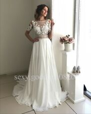 Beaded Lace Appliques Beach Wedding Dresses Bohemian Chiffon Bridal Gowns Custom