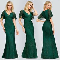 Ever-Pretty Ruffle Sleeve V-Neck Long Bridesmaid Dresses Mermaid Wedding Gowns