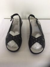 Hotter Navy Blue Leather Slingback Open Toe Low Wedge Shoes, Uk Size 4
