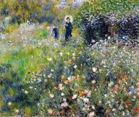 Renoir 1875, Woman with a Parasol in Garden, Fade Resistant HD Print or Canvas