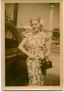 Louise Allbritton Rare Vintage Original Kodak Snapshot Photo by car stamped 1944