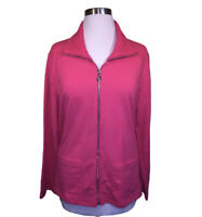 Susan Graver Weekend Pink French Terry Zip Front Jacket Lace Collar Large EUC
