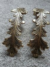 1 Pair Curtain Hold Backs Feather Pattern Gold Coloured
