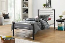 Faro Modern Chrome Black Metal Single Bed Frame