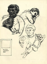 Originalzeichnungen (1900-1949) mit Porträt & Persönlichkeiten und Tusche