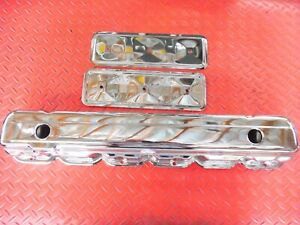 VALVE COVER 6 CYLINDER CHEVY CHROME WITH 2 SIDE PLATES 194 230 250 CHEVROLET