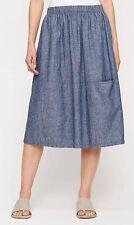 XL NWT Eileen Fisher Hemp Organic Cotton Chambray Oval Skirt Denim Blue