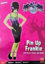 Adulto Señoras Para Mujer Vestido Disfraz Halloween Pin Up Frankie Flor Gargantilla pequeño