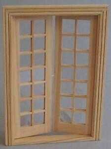 1/12, Miniature wood dolls house French Windows Doors & Door Frame DIY Patio LGW