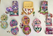 9 Vtg Polly Pocket Light Ups Gold Logo Compacts Dolls Pets Horse Blue Bird RARE