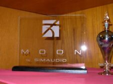 SIMAUDIO MOON ETCHED GLASS SIGN W/BLACK OAK BASE