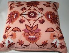 Embroidered Floral Medallion Throw Pillow 18 x 18 Square