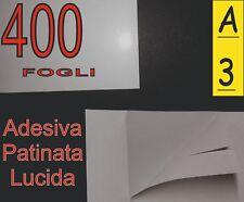 400 fogli di Carta adesiva patinata SUPER LUCIDA fotografica stampante laser A3