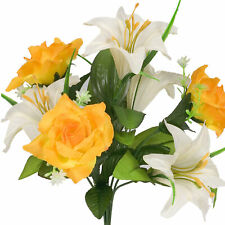 Artificial Silk Lilly Flowers Wedding Valentines Memorial Grave - White / Yellow