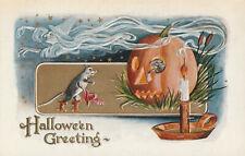 Vintage Halloween Postcard Smoking Flying Witch Pumpkin Rats Embossed Mint