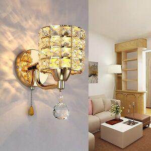 5W Modern Chrome Crystal LED Wall Light Lamp Bedroom Living Room Home Decor