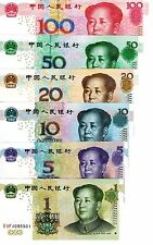 China Full Set Of 6 Notes Uncirculated Crisp 1,5,10,20,50 & 100 Yuan