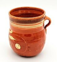 Antique Vintage Redware Pitcher Applied Handle Southern Stoneware Pottery